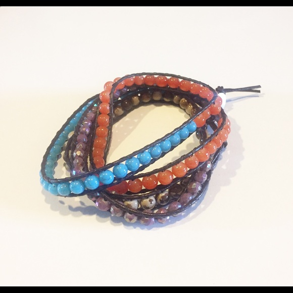 Jewelry - Leather (dark brown) and bead wrapped bracelet.
